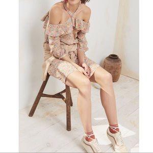 Madewell Silk Forsythia Cold-Shoulder Dress 10 🆕